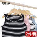 Vest sling Sleeveless summer Animation for a rest neutral There are models in the real shot leisure time stripe Crew neck other nothing Cotton 95% polyurethane elastic fiber (spandex) 5% Hxwx-2pcs-s71-1 other