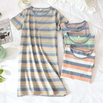 Pajamas / housewear set female Farsenna M L XL Orange striped skirt yellow striped skirt pink striped skirt green striped skirt cotton Short sleeve Thin money Cotton 100% Winter 2020 Cotton 100%