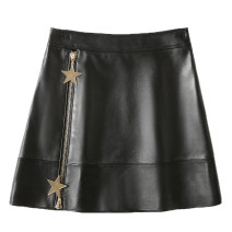skirt Autumn 2020 black Short skirt Versatile High waist A-line skirt Solid color Type A 25-29 years old PW2025 More than 95% Sheepskin Other / other Sheepskin Chain, Sequin, zipper, stitching 601g / m ^ 2 and above