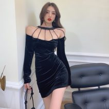 Dress Spring 2021 black S, M Short skirt singleton  Long sleeves commute One word collar High waist Solid color Socket One pace skirt routine Hanging neck style 18-24 years old Type H Korean version backless 30% and below polyester fiber