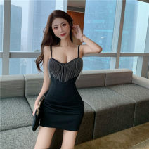 Dress Summer 2021 White, black S,M,L Short skirt singleton  Sleeveless commute One word collar High waist Solid color Socket One pace skirt other camisole 18-24 years old Type X Korean version Open back, tassel 30% and below