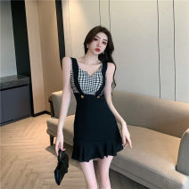 Dress Summer 2021 Plaid black S,M,L Short skirt singleton  Sleeveless commute V-neck High waist Solid color Socket A-line skirt routine camisole 18-24 years old Type A Korean version Splicing 31% (inclusive) - 50% (inclusive) polyester fiber