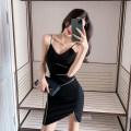 Dress Summer 2020 black S,M,L Short skirt singleton  Sleeveless commute V-neck High waist Solid color zipper Irregular skirt other camisole 18-24 years old Type X Korean version chain 30% and below