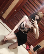 Dress Summer 2021 black S,M,L Short skirt singleton  Sleeveless commute One word collar High waist Solid color zipper One pace skirt other Breast wrapping 18-24 years old Type X Korean version backless 30% and below nylon