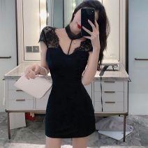 Dress Summer 2021 black S,M,L Short skirt singleton  Short sleeve commute V-neck High waist Solid color Socket One pace skirt other Hanging neck style 18-24 years old Type X Retro Lace 30% and below Lace