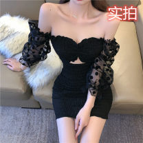 Dress Spring 2021 black S,M,L Short skirt singleton  Long sleeves commute One word collar High waist Solid color Socket Pencil skirt bishop sleeve Breast wrapping 18-24 years old Type X Korean version Open back, fold, hollow out 30% and below