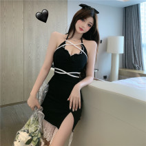 Dress Spring 2021 Red, black S,M,L Short skirt singleton  Sleeveless commute V-neck High waist Solid color Socket One pace skirt routine camisole 18-24 years old Type H Korean version backless 30% and below brocade polyester fiber