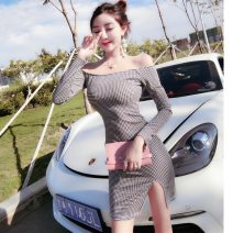 Dress Spring 2021 houndstooth  S,M,L Short skirt singleton  Long sleeves commute One word collar High waist houndstooth  zipper One pace skirt routine Breast wrapping 18-24 years old Korean version Asymmetry 30% and below