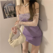 Dress Summer 2021 Black, taro purple Average size Miniskirt singleton  Long sleeves commute One word collar High waist Solid color Socket One pace skirt other Hanging neck style 18-24 years old Type X Korean version Hollow out, open back, stitching, lace 30% and below Lace