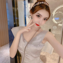 Dress Summer 2021 Light grey S,M,L Short skirt singleton  Sleeveless Sweet V-neck High waist Solid color zipper One pace skirt Others 18-24 years old Type X 91% (inclusive) - 95% (inclusive) other polyester fiber