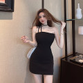 Dress Summer 2021 Temperament black, noble white, elegant apricot Average size Short skirt singleton  Sleeveless commute One word collar High waist Solid color Socket One pace skirt other camisole 18-24 years old Type X Other / other Korean version backless 30% and below