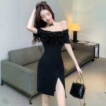 Dress Spring 2021 black S,M,L Short skirt singleton  Short sleeve commute One word collar High waist Solid color Socket One pace skirt routine Breast wrapping 18-24 years old Type X Korean version Splicing 30% and below
