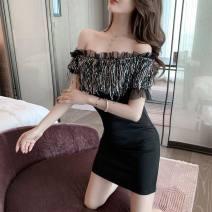 Dress Summer 2021 black S,M,L Short skirt singleton  Short sleeve commute One word collar High waist Solid color Socket One pace skirt other Breast wrapping 18-24 years old Type X Korean version Sequins 30% and below