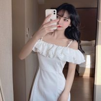 Dress Summer 2021 White, black S,M,L Short skirt singleton  Sleeveless Sweet One word collar High waist Solid color zipper A-line skirt other camisole 18-24 years old Type X 30% and below college