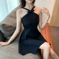 Dress Summer 2021 black S,M,L Short skirt singleton  Sleeveless commute other High waist Solid color zipper Big swing other Hanging neck style 18-24 years old Type A Korean version Bow, Ruffle 30% and below