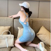 Dress Summer 2021 wathet S,M,L Short skirt singleton  Long sleeves commute other High waist Solid color Socket One pace skirt routine camisole 18-24 years old Type A Korean version backless 31% (inclusive) - 50% (inclusive) knitting cotton
