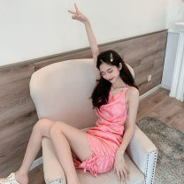 Dress Summer 2021 Black, pink S, M Short skirt singleton  Sleeveless commute Pile collar High waist Solid color Socket One pace skirt other Hanging neck style 18-24 years old Type X Korean version backless 30% and below other