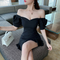 Dress Summer 2021 black S,M,L Short skirt singleton  Short sleeve commute V-neck High waist Solid color Socket Ruffle Skirt routine Others 18-24 years old Type A Lotus leaf edge 81% (inclusive) - 90% (inclusive) polyester fiber
