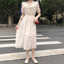 Dress Summer 2021 Apricot S,M,L,XL Mid length dress singleton  Long sleeves V-neck routine Type A JC7102085651132 30% and below other