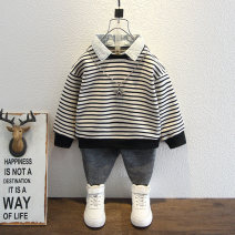Sweater / sweater Bab Castle Grey black male 90cm 100cm 110cm 120cm 130cm 140cm spring and autumn nothing cotton stripe Other 100%