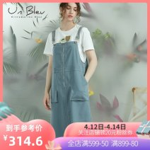 Dress Summer 2020 Greyish green S M L Mid length dress Sleeveless Loose waist zipper A-line skirt straps 25-29 years old unbleu L202003 30% and below polyester fiber Lyocell fiber (Lyocell) 66% polyester fiber 30% polyurethane elastic fiber (spandex) 4% Exclusive payment of tmall