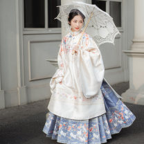 Hanfu 96% and above Autumn 2020 Red long coat, off white long coat, Navy trapezoidal horse face skirt, sky blue trapezoidal horse face skirt Xs, s, m, l, XL, XS (spot), s (spot), m (spot), l (spot), XL (spot) polyester fiber