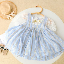 Dress female Other / other Other 100% summer princess Short sleeve Broken flower other Pleats 42QZ2965 other Seven, three, six, two, five, four Chinese Mainland wathet Size 5 for height 80, size 7 for height 90, size 9 for height 100, size 11 for height 110, size 13 for height 120