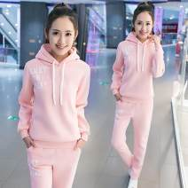 Sweater / sweater Winter of 2018 Socket Upper and lower sleeve Plush Hood Self cultivation letter Cotton liner