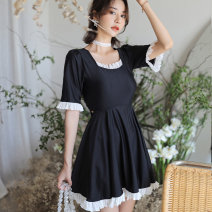 one piece  Summer wave M,L,XL,XXL,4XL,XXXL,5XL black Skirt one piece With chest pad without steel support other female Middle sleeve Casual swimsuit Solid color