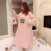 Nightdress Other / other Sweet Long sleeves Leisure home longuette autumn Plants and flowers youth Crew neck cotton printing More than 95% pure cotton