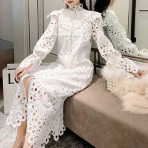 Dress Autumn 2020 white S,M,L Mid length dress singleton  Long sleeves commute stand collar Solid color Single breasted other pagoda sleeve Others Type H IELTS Gouhua, hollow out, button, lace Lace