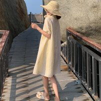 Dress Summer 2021 Yellow lattice S,M,L,XL Mid length dress singleton  Long sleeves commute Polo collar Loose waist lattice Single breasted A-line skirt puff sleeve Others 18-24 years old Type A Other / other Korean version Pleats, buttons More than 95% other other