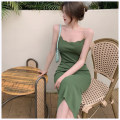 Dress Summer 2021 green Average size Mid length dress singleton  Sleeveless commute Solid color Socket One pace skirt camisole Korean version More than 95% other other