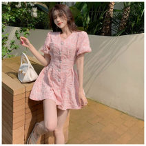 Dress Spring 2021 Cherry powder, pure white S, M Middle-skirt singleton  Short sleeve commute Crew neck Elastic waist Decor Single breasted A-line skirt puff sleeve Hanging neck style Type A Korean version Sticking cloth WN013042 More than 95% other other