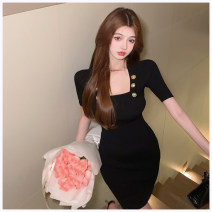 Dress Summer 2021 White, black Average size Short skirt singleton  Short sleeve commute square neck High waist Solid color Socket other routine Others Korean version Button More than 95% knitting other