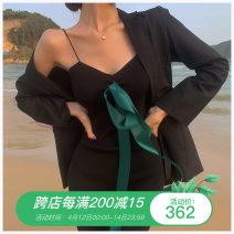 Dress Summer 2021 Black suspender skirt Average size longuette singleton  Sleeveless commute V-neck High waist Solid color Socket One pace skirt other camisole Type H Korean version More than 95% other other