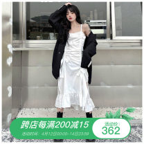 Dress Summer 2021 Black suspender skirt, white suspender skirt S,M,L,XL,2XL,3XL,4XL Mid length dress singleton  Sleeveless commute High waist Solid color Socket Ruffle Skirt camisole Type A Korean version Bandage More than 95% other other