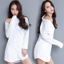 shirt White, off white S,M,L,XL,2XL,3XL,4XL,5XL Spring of 2018 polyester fiber 51% (inclusive) - 70% (inclusive) Long sleeves Versatile Regular Polo collar Single row multi button routine Solid color Straight cylinder Julia 35W 3D, pocket, button