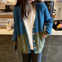 sweater Winter 2020 Average size Picture color Long sleeves Cardigan singleton  Regular other 31% (inclusive) - 50% (inclusive) V-neck Regular commute routine other Straight cylinder Keep warm and warm 18-24 years old fold Single breasted