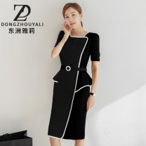 Dress Summer 2021 Customized black Customized s ml XL 2XL Mid length dress singleton  Short sleeve commute square neck High waist Solid color zipper One pace skirt routine Others 25-29 years old Type X Dongzhou Yali Ol style Lace up stitching More than 95% polyester fiber