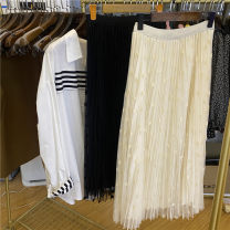Women's large Spring 2021, summer 2021, autumn 2021 Black, apricot Big size average Sweet Solid color polyester fiber 18-24 years old longuette Pleated skirt