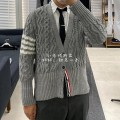 T-shirt / sweater Thom Browne Fashion City grey 0,1,2,3,4 routine Cardigan V-neck Long sleeves spring and autumn Slim fit leisure time tide routine Solid color No iron treatment Regular wool (10 stitches, 12 stitches)