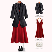 suit Summer 2021 One piece black medium sleeve suit one piece red dress S M L XL 2XL 3XL 4XL elbow sleeve routine Self cultivation tailored collar A button commute routine Solid color 9951_ MWQ - sixty-six 25-29 years old 96% and above polyester fiber Yimuzi Button Polyester 100%