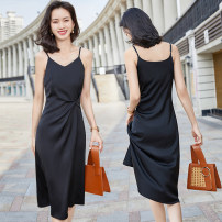 Dress Spring 2021 S M L XL 2XL 3XL 4XL Mid length dress singleton  Sleeveless commute V-neck middle-waisted Solid color Socket A-line skirt routine Others 25-29 years old Type A Yimuzi Ol style fold C51_ 1015-66 More than 95% polyester fiber Polyester 95% polyurethane elastic fiber (spandex) 5%
