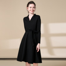 Dress Autumn 2020 black S,M,L,XL,2XL,3XL Mid length dress singleton  Long sleeves commute V-neck High waist Solid color zipper A-line skirt routine Others 25-29 years old Type A Meng Meiyi Simplicity Lace up, zipper 81% (inclusive) - 90% (inclusive) other cotton