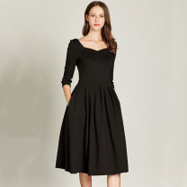 Dress Spring 2021 black S,M,L,XL,2XL,3XL,4XL Mid length dress singleton  three quarter sleeve commute square neck High waist Solid color zipper Big swing routine Others Type A Meng Meiyi Retro pocket 81% (inclusive) - 90% (inclusive) other cotton