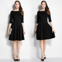 Dress Autumn 2020 Black [1-neck, 3 / 4 sleeve, medium length], red [1-neck, 3 / 4 sleeve, medium length], black [1-neck, short sleeve, medium length], black [1-neck, long sleeve, medium length] S,M,L,XL,2XL,3XL Mid length dress singleton  three quarter sleeve commute One word collar High waist Socket