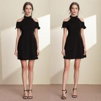 Dress Summer of 2018 black S,M,L,XL,2XL,3XL Short skirt singleton  Short sleeve commute Crew neck High waist Solid color zipper A-line skirt routine Others 25-29 years old Type A Yimeng women's dress Simplicity Ruffle, zipper, 3D 81% (inclusive) - 90% (inclusive) brocade cotton