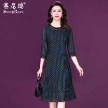 Dress Spring 2021 black M L XL 2XL 3XL Mid length dress singleton  three quarter sleeve commute Crew neck middle-waisted Socket A-line skirt routine 35-39 years old Type H Sunny right literature Embroidered stitching beads S21CQ35199 More than 95% silk Mulberry silk 100%