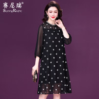 Dress Spring 2021 black M L XL 2XL 3XL Mid length dress singleton  three quarter sleeve commute Crew neck middle-waisted Socket A-line skirt routine 35-39 years old Type H Sunny right lady Embroidered button beads S21CQ35222 More than 95% silk Mulberry silk 100%